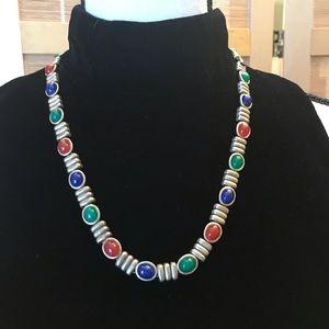 """Colorful scarob necklace & bracelet, 17 i& 7.25""""."""